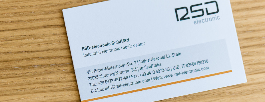 Business Card of the RSD-electronic in South Tyrol