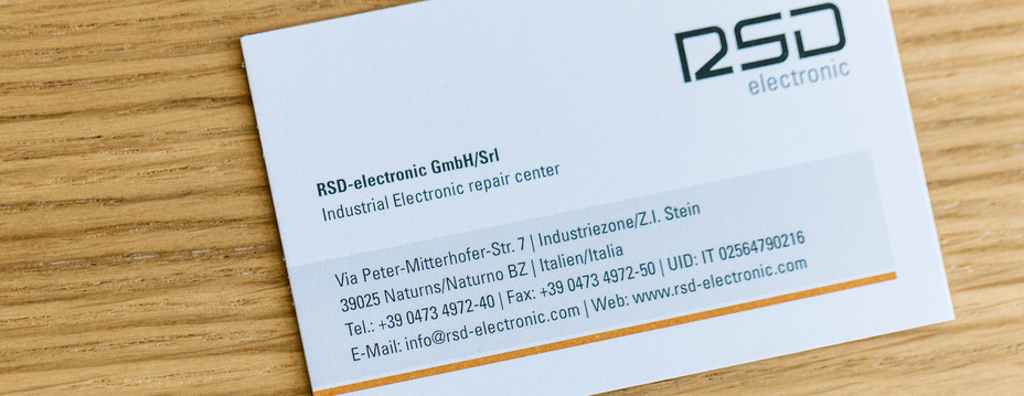 Business card from the company RSD-electronic in South Tyrol.