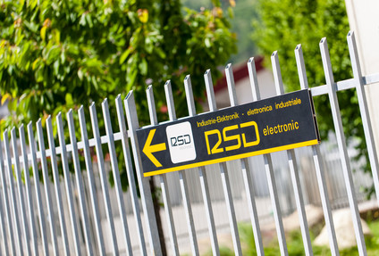 Signpost to the headquarters of RSD-Electronic in Naturns, South Tyrol.